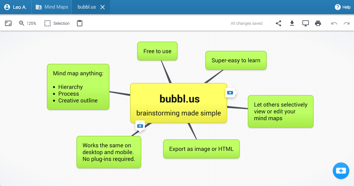 Bubbl.us - brainstorm and mind map online